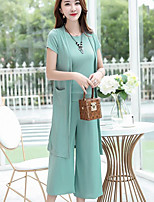 Women's Going out Casual/Daily Street chic Summer Shirt Pant Suits,Solid Round Neck Short Sleeve Micro-elastic