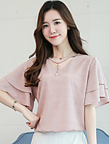 Women's Going out Casual T-shirt,Solid V Neck Short Sleeves Polyester