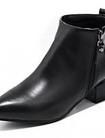 Для женщин Обувь Дерматин Полиуретан Осень Зима Удобная обувь Оригинальная обувь Ботильоны Ботинки На толстом каблуке Заостренный носок
