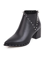 Women's Shoes PU Fall Fashion Boots Boots Chunky Heel Pointed Toe Rivet For Casual Black