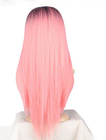 Women Synthetic Wig Capless Long Black/Pink Ombre Hair Dark Roots Middle Part Cosplay Wig Costume Wig