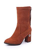 Для женщин Обувь Дерматин Осень Зима Удобная обувь Ботинки На толстом каблуке Сапоги до середины икры Молнии Назначение Повседневные