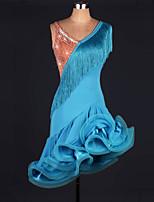 мы будем латинскими танцами женского исполнения нейлоновые кружевные безрукавные натуральные платья