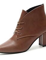 Feminino Sapatos Couro Ecológico Inverno Conforto Botas da Moda Botas Salto Grosso Dedo Apontado Botas Cano Médio Cadarço Para Casual