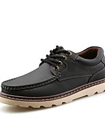 Men's Shoes PU Fall Comfort Light Soles Oxfords For Casual Brown Yellow Black