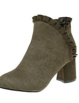 Women's Shoes Cashmere Fall Combat Boots Boots Chunky Heel Square Toe For Casual Green Black
