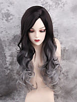 Women Synthetic Wig Capless Long Very Long Wavy Black/Grey Ombre Hair Dark Roots Natural Wigs Costume Wig