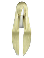 Women Synthetic Wig Capless Very Long Kinky Straight Yellow Anime Cosplay Wig Costume Wig
