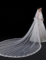 Deux couches Style moderne Accessoires A Fleurs Bord en dentelle Mariage Dentelle Européen Princesse Mariée énorme Voiles de Mariée