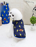 Dog Coat Dog Clothes Mixed Color Geometric Dark Blue Blue Costume For Pets