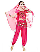 Belly Dance Outfits Women's Performance Chiffon Pleated Paillette Short Sleeve Natural Tops Pants Waist Accessory Bracelets Headpieces