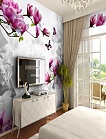 Pattern 3D Flower/Floral Wallpaper For Home Rustic Wall Covering , Canvas Material Adhesive required Wallpaper , Room Wallcovering