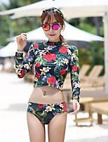 Per donna Asciugatura rapida Nylon Scafandro Manica lunga Top Pantaloni-Nuoto Spiaggia Autunno Floral / botanico