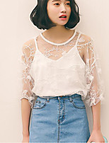 Women's Going out Vintage Cute Blouse,Solid Round Neck Half Sleeves Cotton