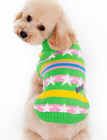 Dog Sweater Dog Clothes Warm Casual/Daily Stars Black Green Costume For Pets