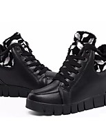 Women's Shoes Synthetic Microfiber PU PU Leatherette Fall Winter Comfort Sneakers Wedge Heel Round Toe Lace-up For Casual Red Black White