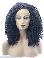 Women Synthetic Wig Lace Front Medium Length Kinky Curly Black Natural Wigs Costume Wig
