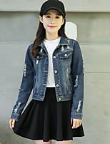 Feminino Jaqueta jeans Casual Simples Outono,Sólido Padrão Algodão Colarinho de Camisa Manga Longa