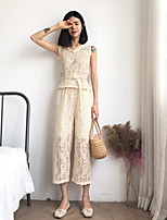 Women's Casual/Daily Simple Summer Blouse Pant Suits,Solid V Neck Sleeveless