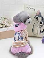 Dog Hoodie Dog Clothes Cute Style Stripe Gray Pink Costume For Pets