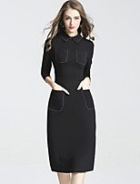 DFFD Women's Holiday Work Vintage Chinoiserie Sheath Dress,Solid Square Neck Knee-length 3/4 Length Sleeves Polyester Fall Mid Rise