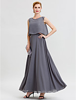A-Line Jewel Neck Ankle Length Chiffon Sequined Mother of the Bride Dress with Beading Sashes / Ribbons by LAN TING BRIDE®