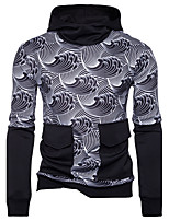 Men's Daily Casual Hoodie Print Hooded Micro-elastic Cotton Long Sleeve Fall Winter