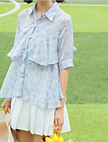 Women's Casual/Daily Simple Blouse,Solid Print Stand Half Sleeves Polyester