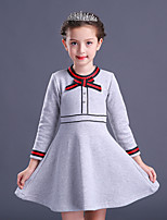 Girl's Solid Dress,Cotton Rayon Polyester Winter Fall Long Sleeve Vintage Party Elegant & Luxurious Red Light gray