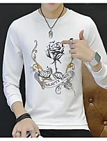 Men's Daily Sweatshirt Print Round Neck Micro-elastic Cotton Polyester Long Sleeve Fall