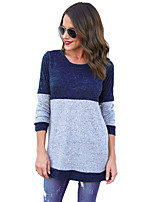 Women's Daily Casual Spring Fall T-shirt,Color Block Round Neck Long Sleeves Polyester Spandex Medium