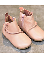 Girls' Shoes Real Leather Spring Fall Comfort Bootie Boots Booties/Ankle Boots For Casual Blushing Pink Beige Black
