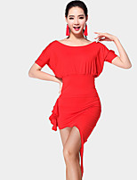 Shall We Latin Dance Outfits Women's Training Milk Fiber 2 Pieces Short Sleeve Natural Skirts Tops