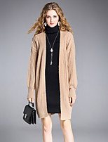 8CFAMILY Women's Going out Casual/Daily Simple Street chic Regular Cardigan,Solid Boat Neck Long Sleeves Acrylic Nylon Winter Medium Stretchy