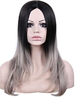 Women Synthetic Wig Lace Front Medium Length Wavy Straight Natural Wave Black/Grey Ombre Hair Dark Roots Middle Part Lolita Wig Drag Wig