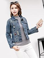 Giacca di jeans Da donna Casual Semplice Autunno,Tinta unita Colletto Cotone Standard Manica lunga