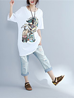 Women's Going out Chinoiserie T-shirt,Print Round Neck Short Sleeves Cotton