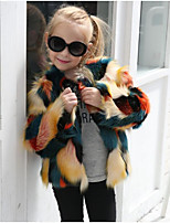 Girls' Color Block Down & Cotton Padded,Fox Fur Fall Winter Long Sleeve