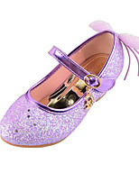 Girls' Shoes Sparkling Glitter Spring Fall Comfort Novelty Flats Bowknot Buckle For Wedding Dress Blushing Pink Purple Gold