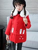 Girls' Animal Print Jacket & Coat,Polyester Fall Winter Long Sleeve