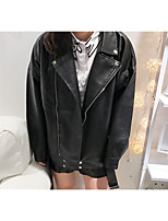 Women's Going out Simple Fall Leather Jacket,Solid Stand Long Sleeve Regular PU