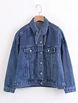 Giacca di jeans Da donna Per uscire Casual Semplice Primavera Autunno,Tinta unita Colletto Altro Standard Manica lunga