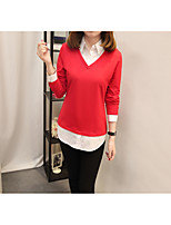 Women's Daily Work Cute Casual Sophisticated Winter Fall T-shirt,Solid Shirt Collar Long Sleeves Cotton Rayon Polyester Medium