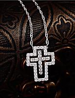 Men's Women's Pendant Necklaces AAA Cubic Zirconia Cross Sterling Silver Zircon Love Simple Style Jewelry For Gift Date