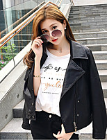 Women's Going out Casual/Daily Vintage Street chic Fall Winter Leather Jacket,Solid Shirt Collar Long Sleeve Regular PU Cotton