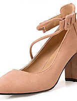 Women's Shoes Suede Fall Comfort Heels Chunky Heel Round Toe For Casual Khaki Blushing Pink Black