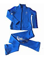 Figure Skating Fleece Jacket Women's Girls' Ice Skating Dress Fuchsia Blue Stretchy Solid Performance Practise Stretchy Long Sleeves