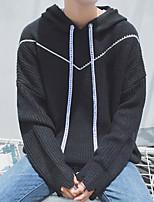 Standard Pullover Da uomo-Casual Semplice Tinta unita Con cappuccio Manica lunga Cotone Autunno Medio spessore Media elasticità