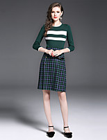 YIYEXINXIANG Women's Casual/Daily Work Simple Fall T-shirt Skirt Suits,Others Round Neck ¾ Sleeve