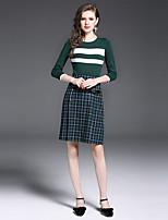 Damen Sonstiges Einfach Lässig/Alltäglich Arbeit T-Shirt-Ärmel Rock Anzüge,Rundhalsausschnitt Herbst ¾ Ärmel